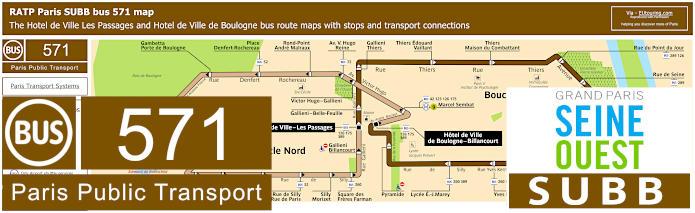 Paris Bus Line 571 Map With Stops