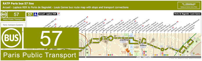 Paris Bus Line 57 Map With Stops