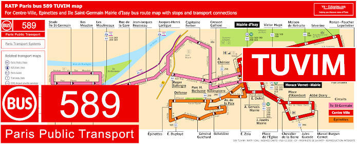 Paris Bus Line 589 Map With Stops