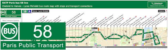 Paris Bus Line 58 Map With Stops