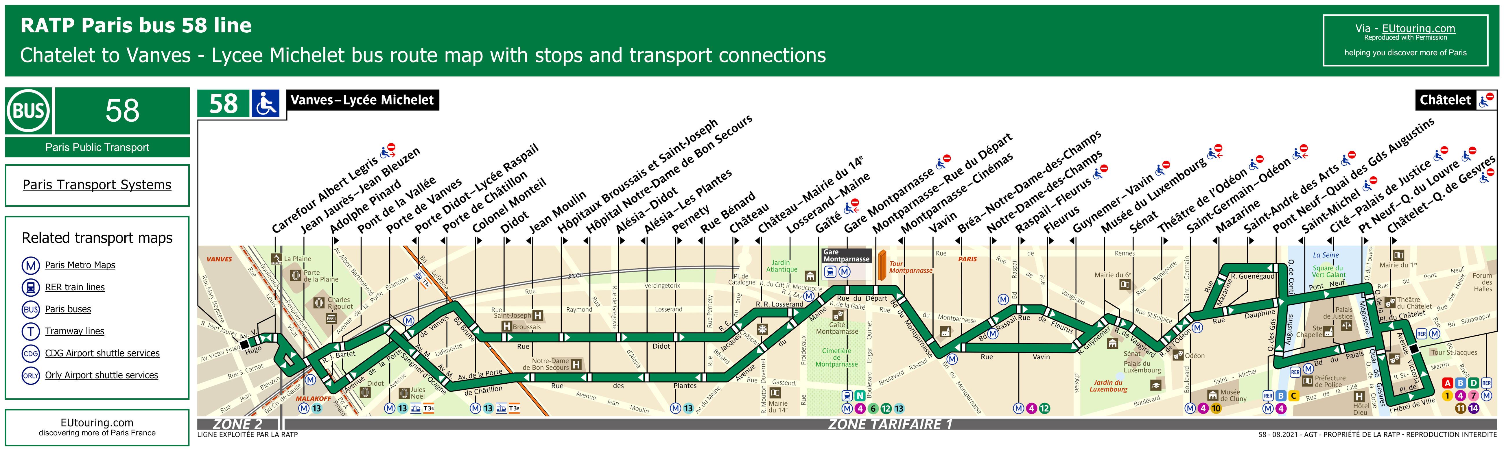 ratp route maps for paris bus lines 50 through to 59