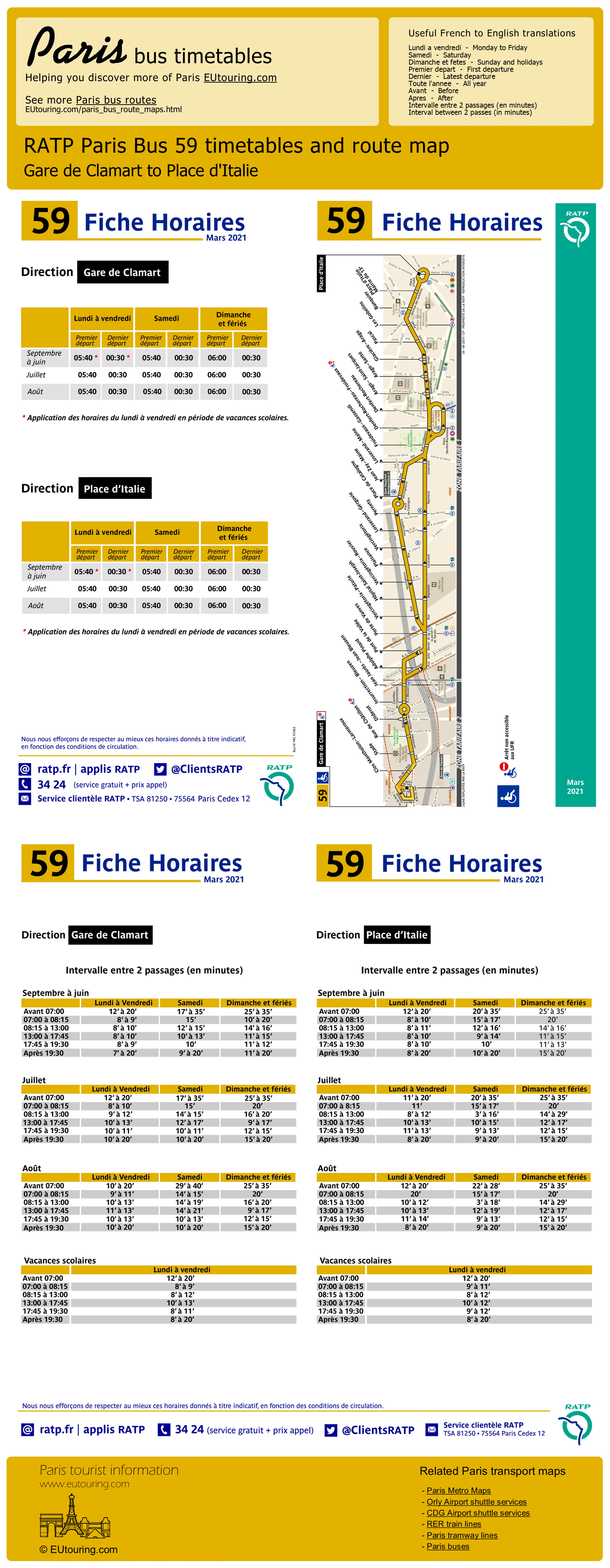 Paris Bus Maps And Timetables For Bus Lines 50 To 59