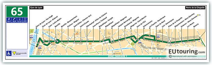 Paris Bus Line 65 Map With Stops