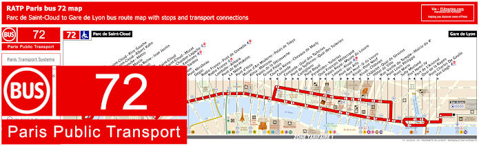 Paris Bus Line 72 Map With Stops