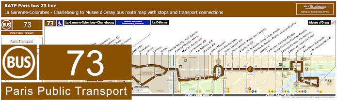 Paris Bus Line 73 Map With Stops