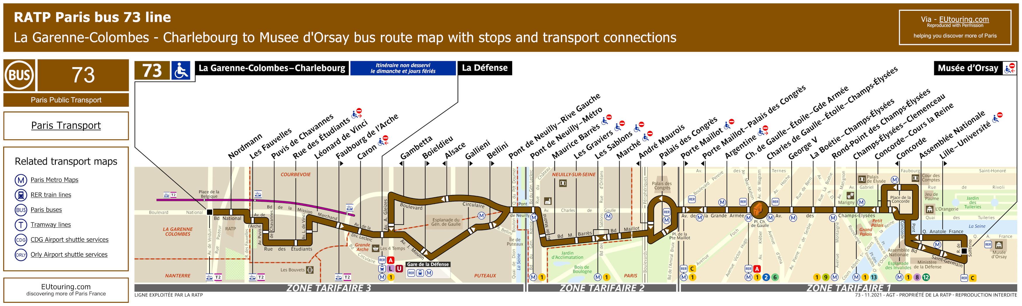 73 Bus Route Map RATP route maps for Paris bus lines 70 through to 79 73 Bus Route Map