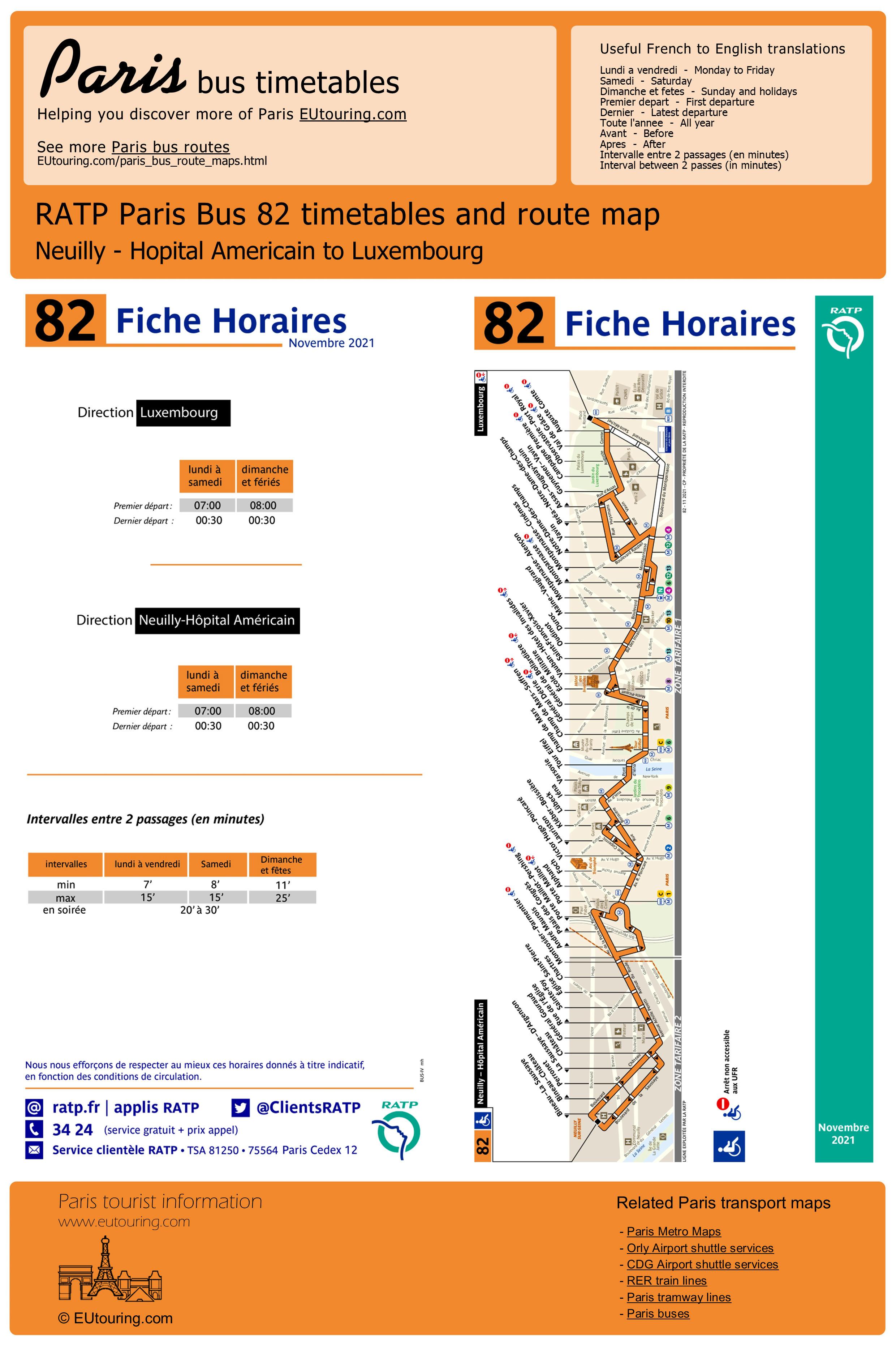 RATP route maps, timetables for Paris bus lines 80 to 89