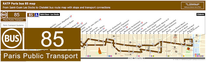 Paris Bus Line 85 Map With Stops
