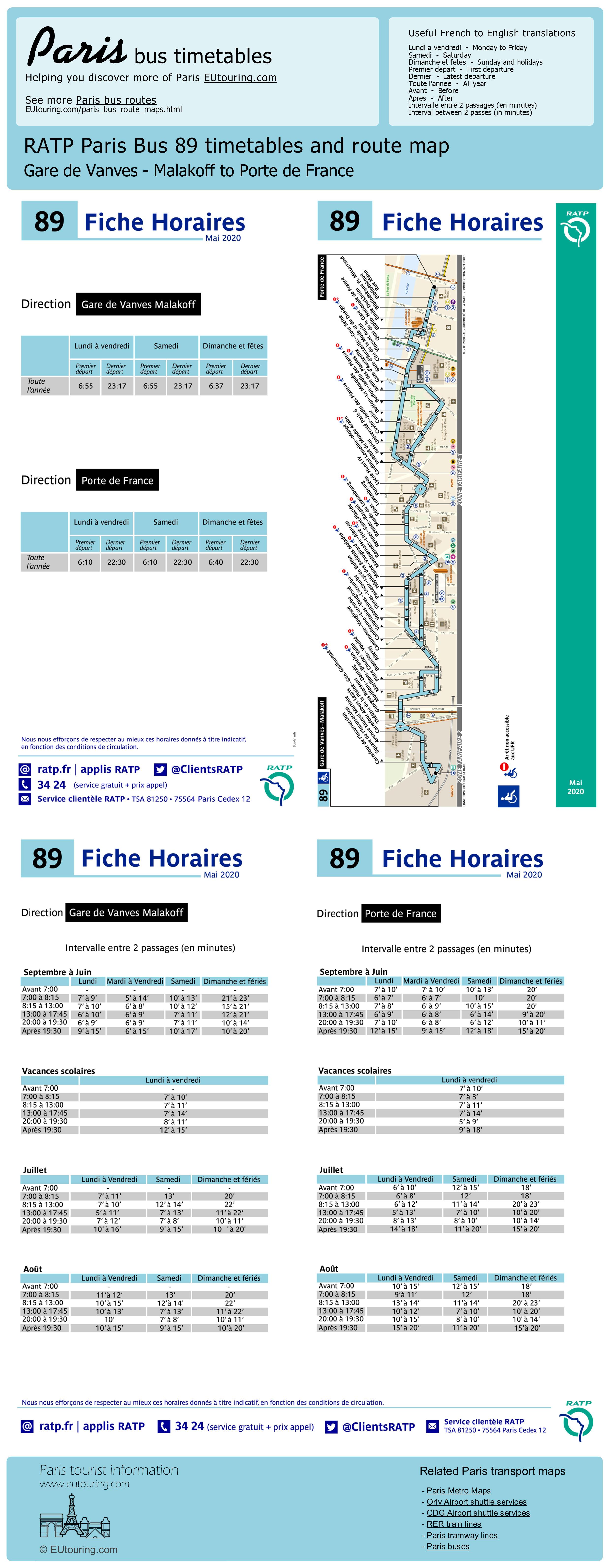 Ratp Route Maps Timetables For Paris Bus Lines 80 To 89