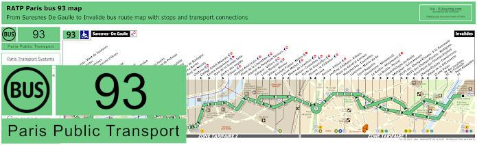 Paris Bus Line 93 Map With Stops