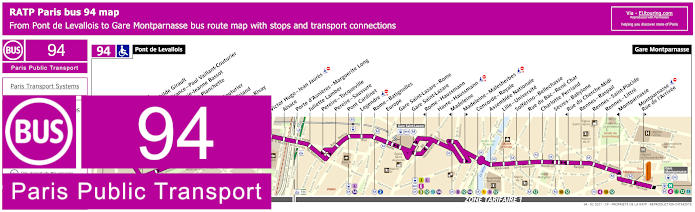 Paris Bus Line 94 Map With Stops