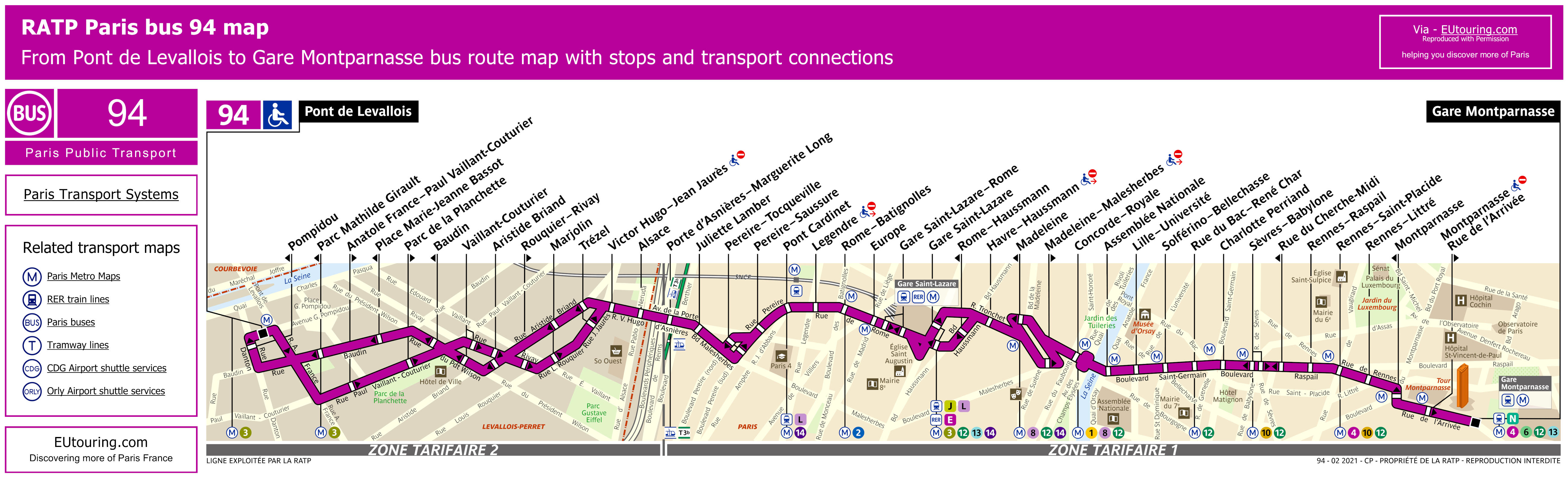 Paris Bus Maps And Timetables For Bus Lines 90 To 99