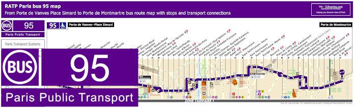 Paris Bus Line 95 Map With Stops