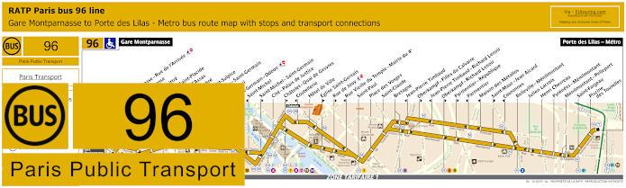 Paris Bus Line 96 Map With Stops