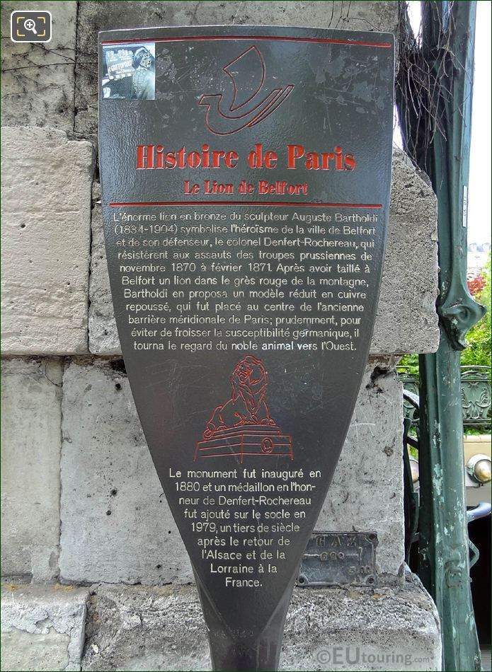 Paris Tourist Information Board For Lion Of Belfort