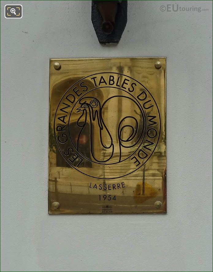 Grand Tables Of The World Brass Plaque Lasserre Restaurant