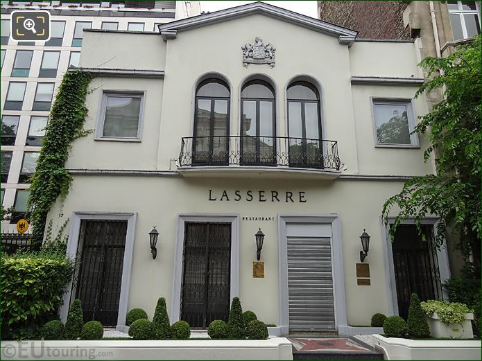Front Facade Of Lasserre Restaurant Paris