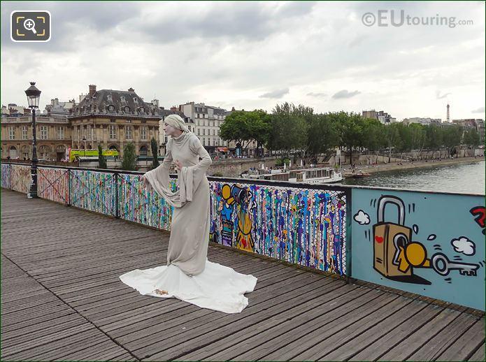 Pont Des Arts Human Statue In Paris