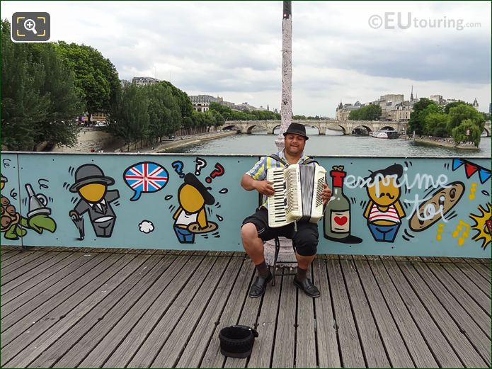 Street Musician Playing Accordion On Pont Des Arts