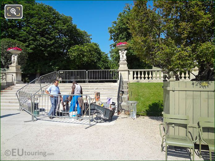 Workers Repairing Steps Western Terrace Luxembourg Gardens