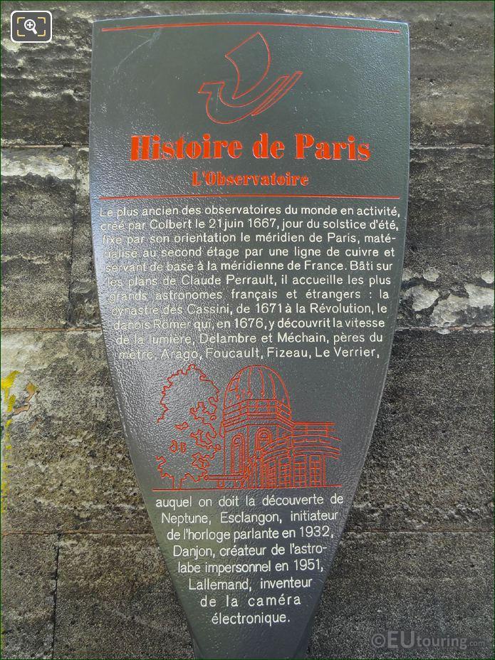 Paris Tourist Information Board For Paris Observatoire