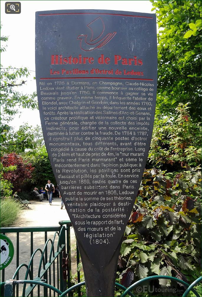 Paris Tourist Information Board For Les Pavillons d'Octroi De Ledoux