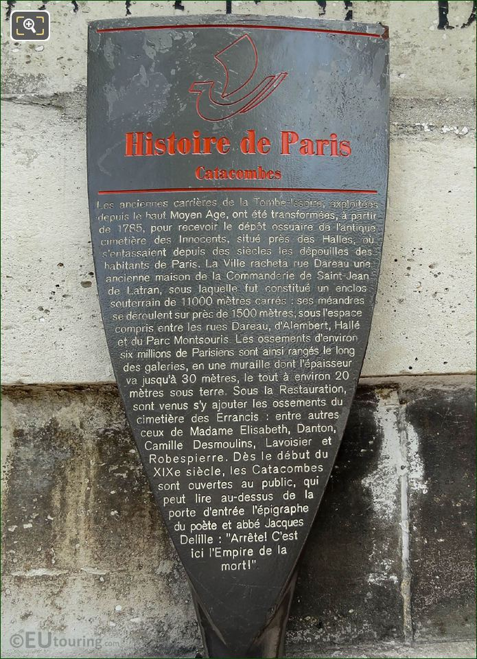 Official Tourist Information Board For Paris Catacombs
