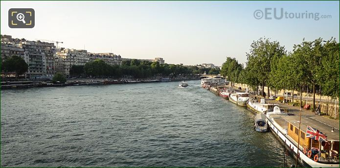 Barges And Houseboats Close To Eiffel Tower Paris