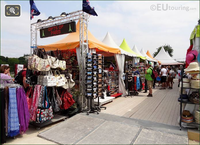 Market Stalls Next To Eiffel Tower