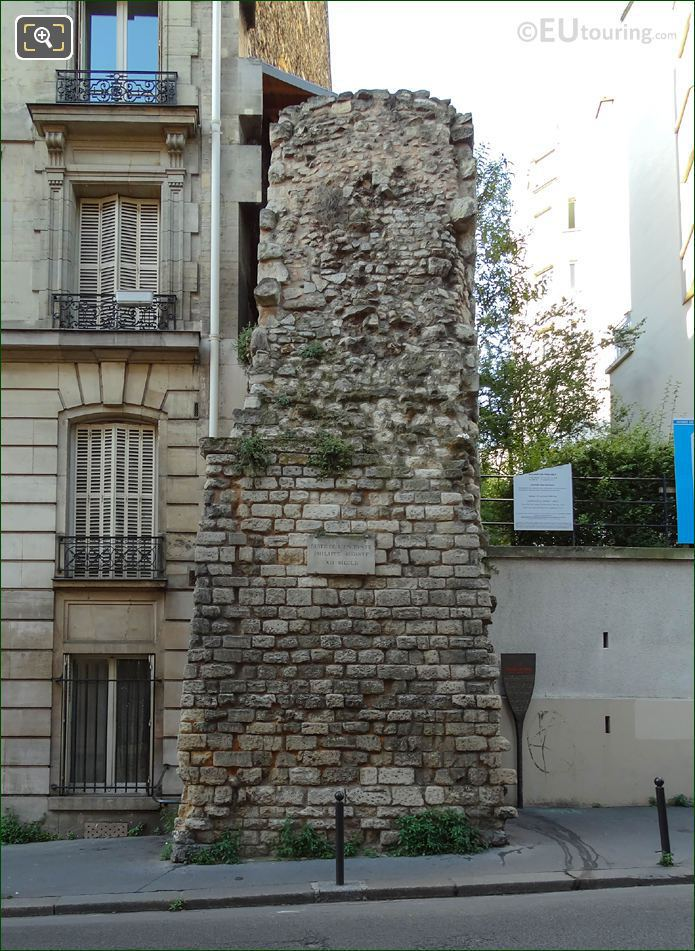 12th Century Wall Of King Philippe Auguste II On Rue Clovis