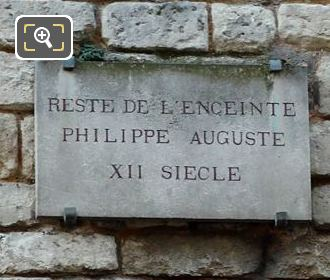 Plaque On 12th Century Wall Of King Philippe Auguste II