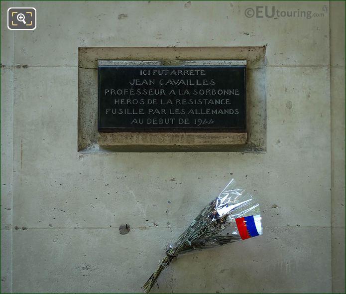 Jean Cavailles Plaque On Avenue De l'Observatoire Paris
