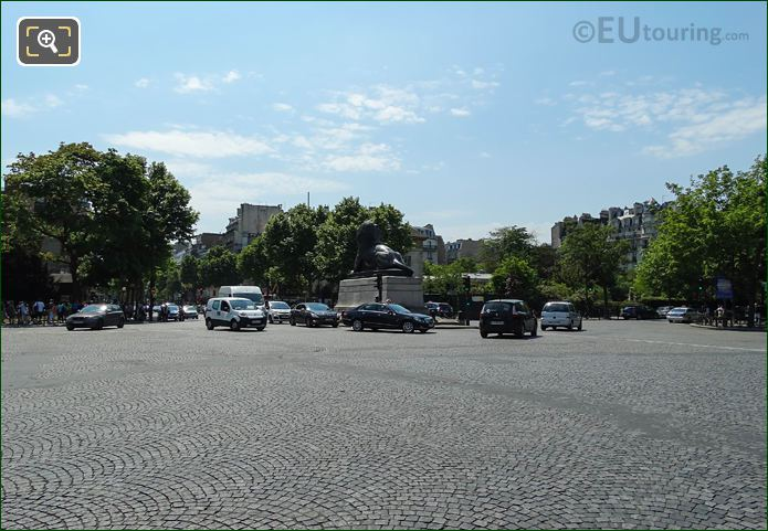 Traffic Around Lion Of Belfort Statue In Place Denfert-Rochereau