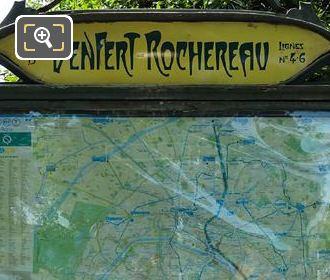 Paris Metro Map At Denfert-Rochereau Metro Entrance