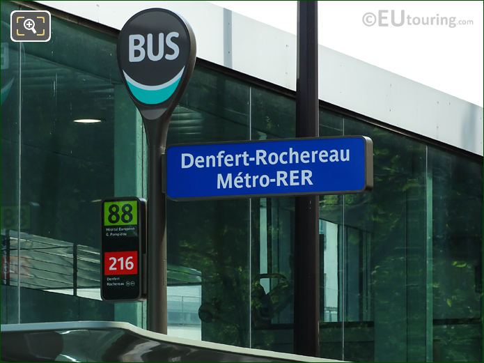 Paris Bus Stop 88 And 216 At Gare Denfert-Rochereau
