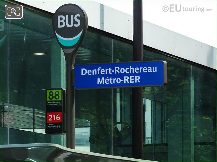 Paris Bus Stop 88 And 216 At Gare Denfert-Rochereau