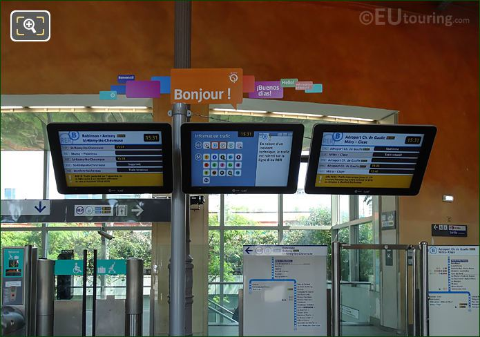 Electronic Info Boards RER B line In Denfert-Rochereau Station