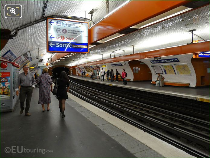 Denfert-Rochereau Metro Stop With Platforms And Info Signs