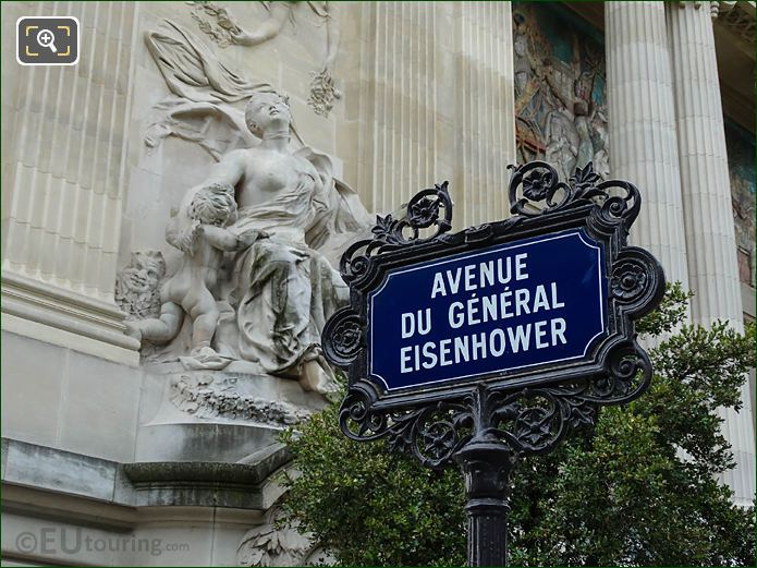 Avenue Du General Eisenhower Street Sign And Grand Palais Facade