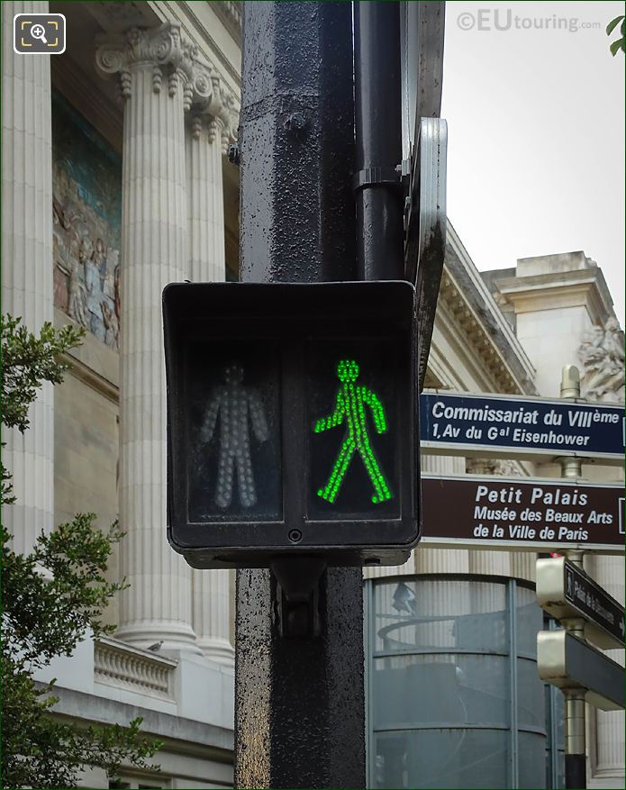 Pedestrians Lights With Green Man On Avenue Franklin Delano Roosevelt