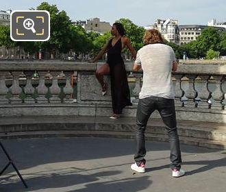 Photographer On Glamour Photo Shoot On Pont Alexandre III