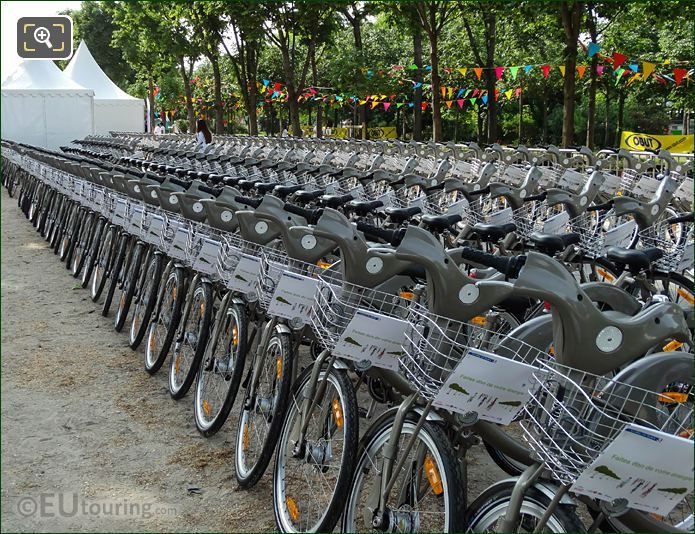 100s Of Paris Velib Bikes All In A Line