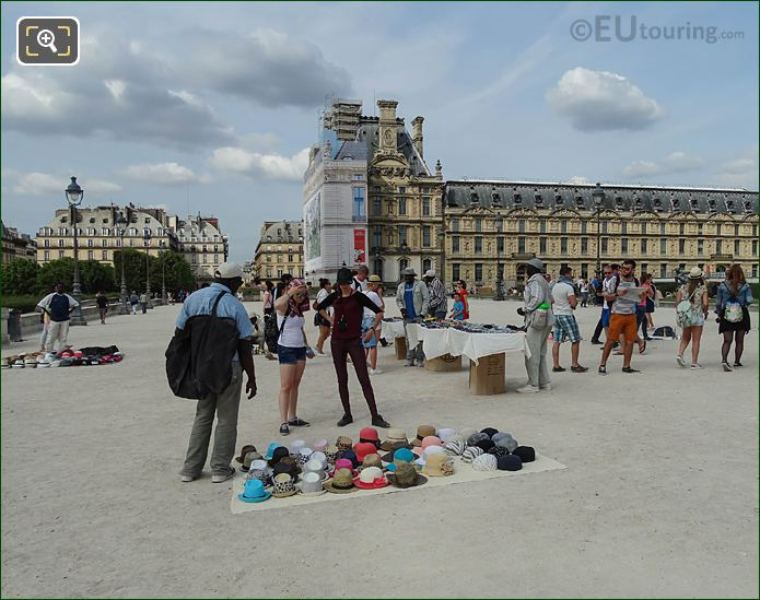Street Sellers Selling Hats At The Louvre Paris