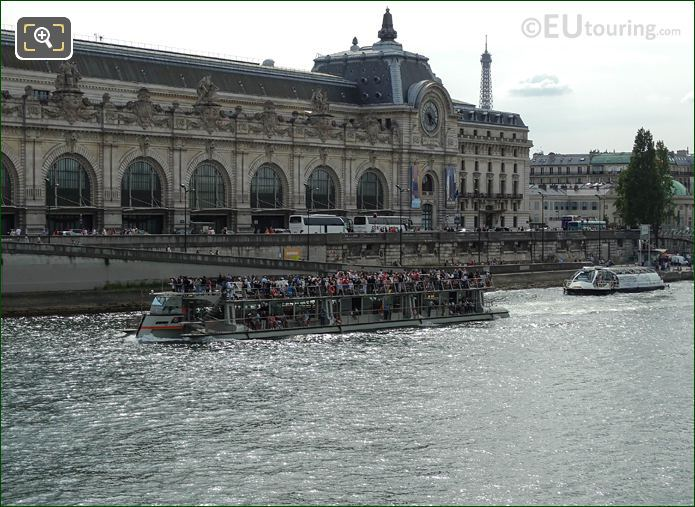 Bateaux Parisiens Boat And Tourists Passing  Musee d'Orsay