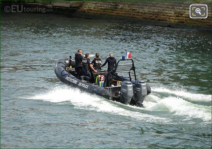 Brigade Fluviale Police Boat On River Seine In Paris