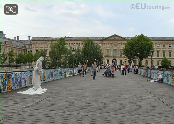 Pont Des Arts With Street Performer As Human Statue