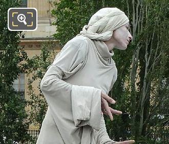 Human Statue On The Pont Des Arts Paris