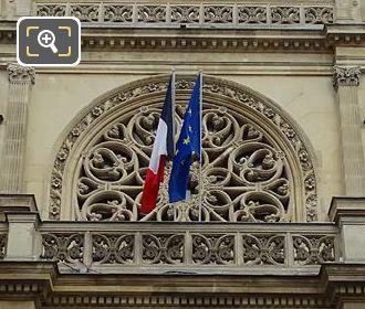 Rose Window, Flags Front Facade Mayors Building 1st Arrondissement