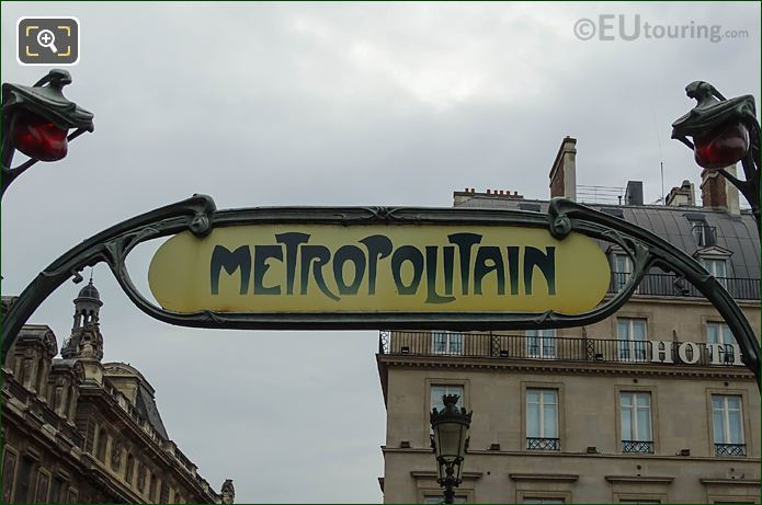 Metropolitain Sign Above Musee Du Louvre Metro Station