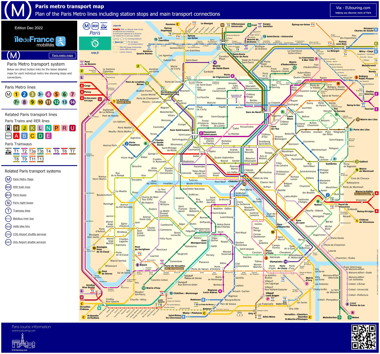 Paris Metro Map With Monuments.Paris Metro Maps Plus 16 Metro Lines With Stations